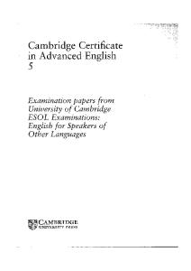 Cambridge Certificate in Advanced English 6 (with Answers