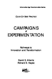 Campaigns of Experimentation: Pathways to Innovation and Transformation (Information Age Transformation)