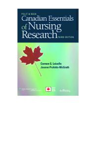 Canadian Essentials of Nursing Research, Third Edition