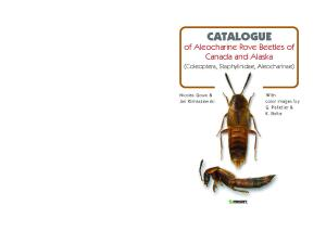 Catalogue of Aleocharinae Rove Beetles of Canada and Alaska: (Coleoptera, Staphylinidae, Aleocharinae) (Faunistica) (v. 65)