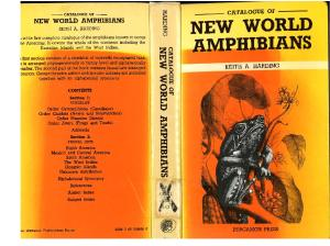 Catalogue of New World Amphibians