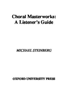 Choral Masterworks: A Listener's Guide