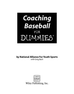 Coaching Baseball For Dummies (For Dummies (Sports & Hobbies))