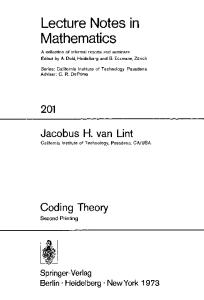 Coding Theory (Lecture Notes in Mathematics)