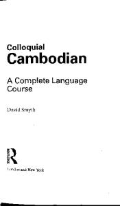 Colloquial cambodian a complete language course