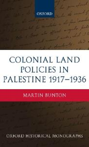 Colonial Land Policies in Palestine 1917-1936