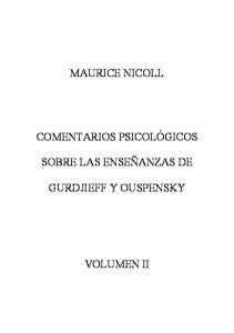 Comentarios Psicológicos sobre las enseñanzas de Gurdjieff y Ouspensky, Vol. 3  spanish