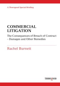 Commercial Litigation: Damages and Other Remedies for Breach of Contract