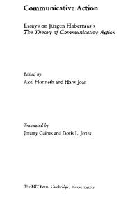 Communicative Action: Essays on Jürgen Habermas's The Theory of Communicative Action