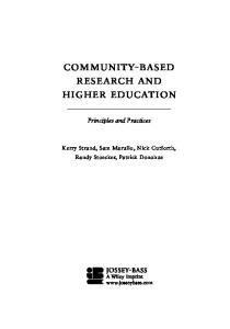 Community-Based Research and Higher Education: Principles and Practices (Jossey Bass Higher and Adult Education Series)