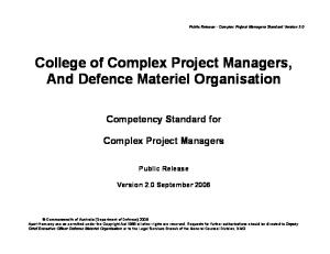 Competency Standard for Complex Project Managers (version 2.0, 2006)