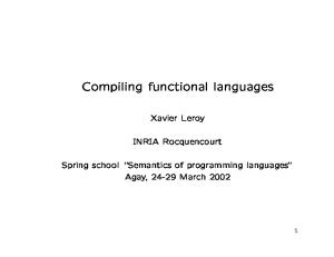 Compiling functional languages