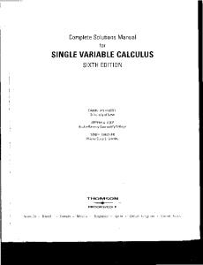 Complete Solution Manual for Single Variable Calculus , 6th Edition