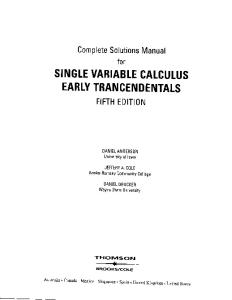 Complete Solutions Manual for Single Variable Calculus Early Transcedentals