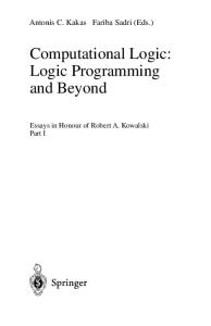 Computational Logic. Logic Programming and Beyond I