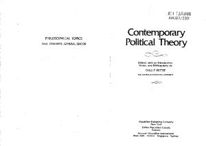 Contemporary Political Theory (Philosophical Topics)