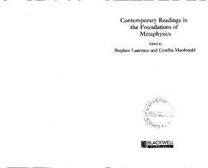 Contemporary Readings in the Foundation of Metaphysics