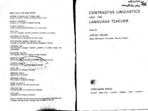 Contrastive Linguistics and the Language Teacher (Language Teaching Methodology Series)
