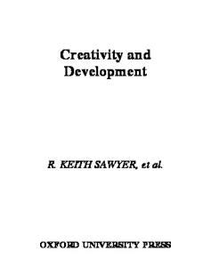 Creativity and Development (Counterpoints (Oxford University Press).)