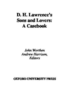 D. H. Lawrence's Sons and Lovers: A Casebook (Casebooks in Criticism)