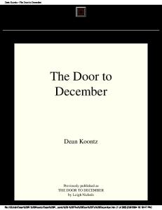 Dean Koontz - (1985) - The Door To December