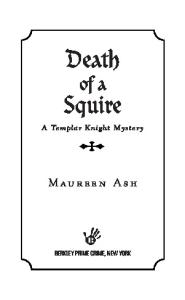 Death of a Squire (Templar Knight Mysteries, No. 2)