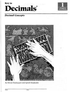 Decimal Concepts Book 1 (Key to Decimals)