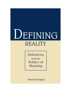 Defining reality: definitions and the politics of meaning