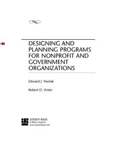 Designing and Planning  Programs for Nonprofit and Government Organizations