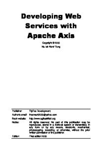 Developing Web Services with Apache Axis