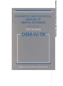 Diagnostic and Statistical Manual of Mental Disorders DSM-IV-TR Fourth Edition (Text Revision)