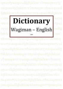 Dictionary Wagiman-English