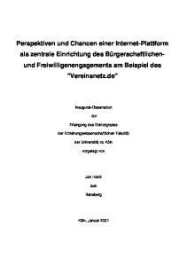 Dissertation Perspektiven und Chancen einer Internet-Plattform