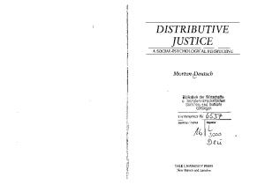 Distributive Justice: A Social-Psychological Perspective