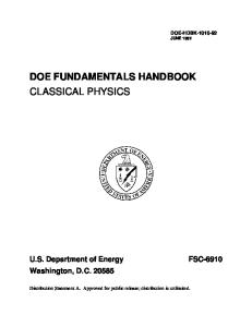 DOE-HDBK-1010-92; Doe Fundamentals Handbook Classical Physics