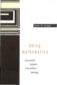 Doing Mathematics: Convention, Subject, Calculation, Analogy