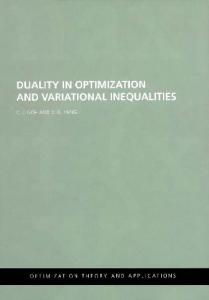 Duality in Optimization and Variational Inequalities (Optimization Theory & Applications)