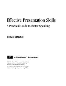 Effective Presentation Skills : A Practical Guide for Better Speaking