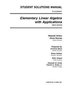 Elementary linear algebra with applications. Solutions
