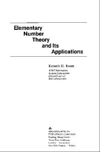 Elementary Number Theory and Its Applications, 1986