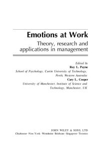 Emotions at work: theory, research, and applications in management