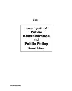 Encyclopedia of Public Administration and Public Policy, First Edition