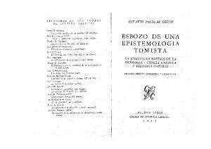 Esbozo de una epistemología tomista. La noética de la sociología; Ciencia empírica y filosofía natural