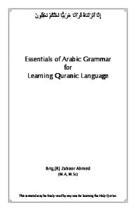 Essentials of Arabic Grammar for Learning Quranic Language