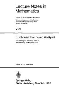 Euclidean Harmonic Analysis
