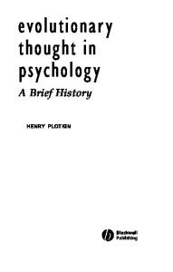 Evolutionary Thought in Psychology: A Brief History (Blackwell Brief Histories of Psychology)