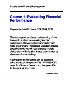Excellence in Financial Management - Evaluating Financial Performance