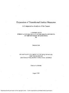 Expansion of Transitional Justice Measures - A Comparative Analysis of Its Causes