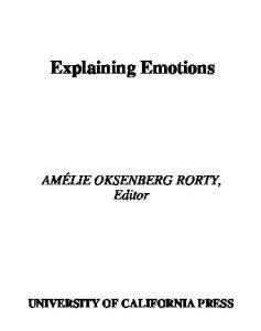 Explaining Emotions