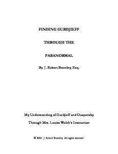 Gurdjieff, Bennett and the Fourth Way - PDF Free Download